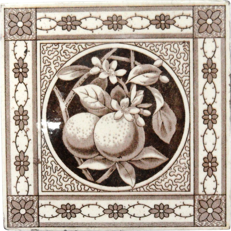 Superb Fruit Brown Transferware Tile ~ ORANGES 1885