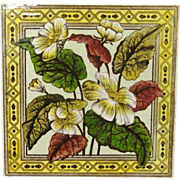 Victorian Brown Transferware Tile ~ PRIMROSE 1886