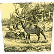 William Wise Transfer Printed Minton Tile ~ Resting Deer 1879