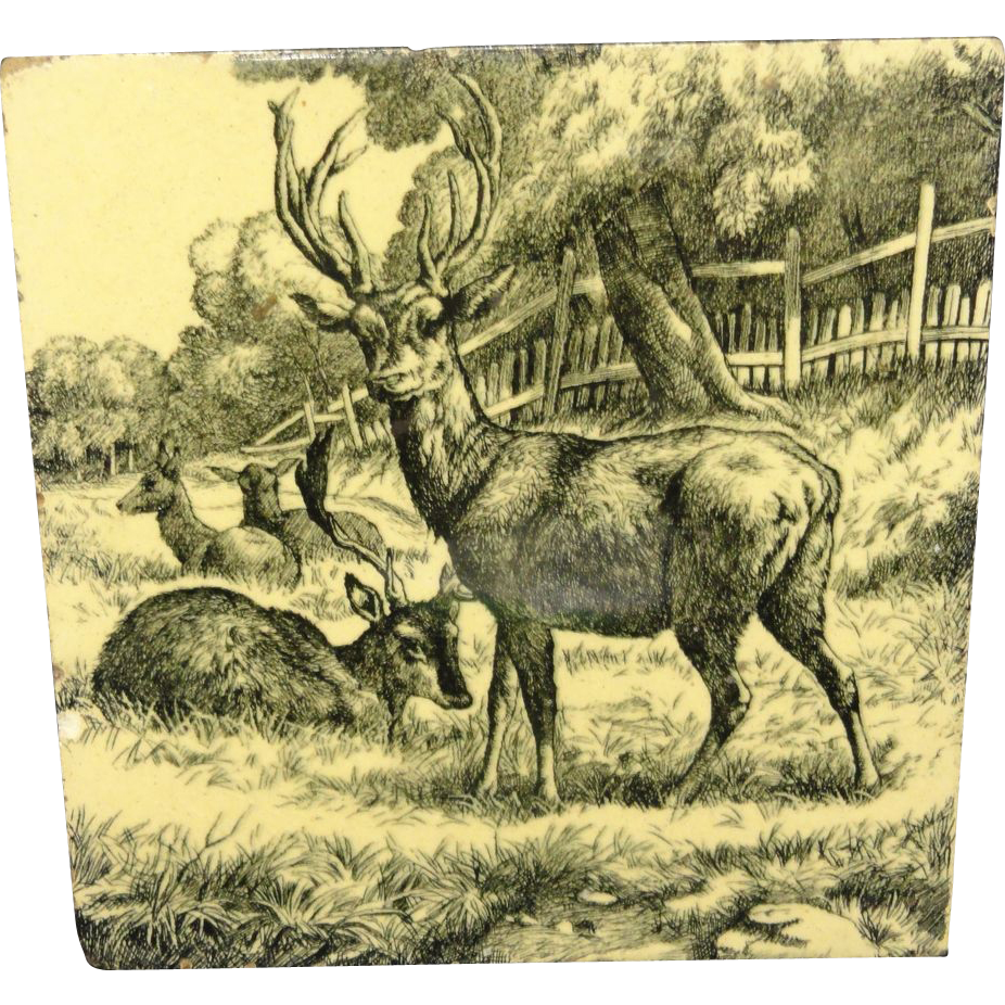 William Wise Transfer Printed Minton Tile ~ Resting Deer 1879