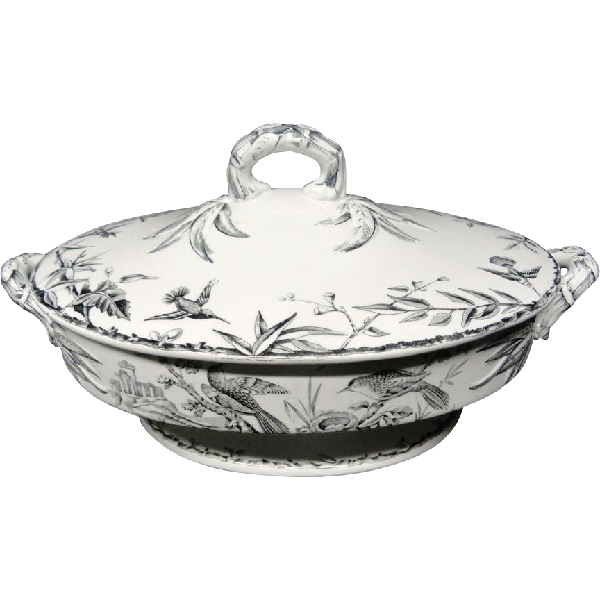 Black Transferware ~ Hawk + Hummingbirds ~ Tureen ~ Indus 1885