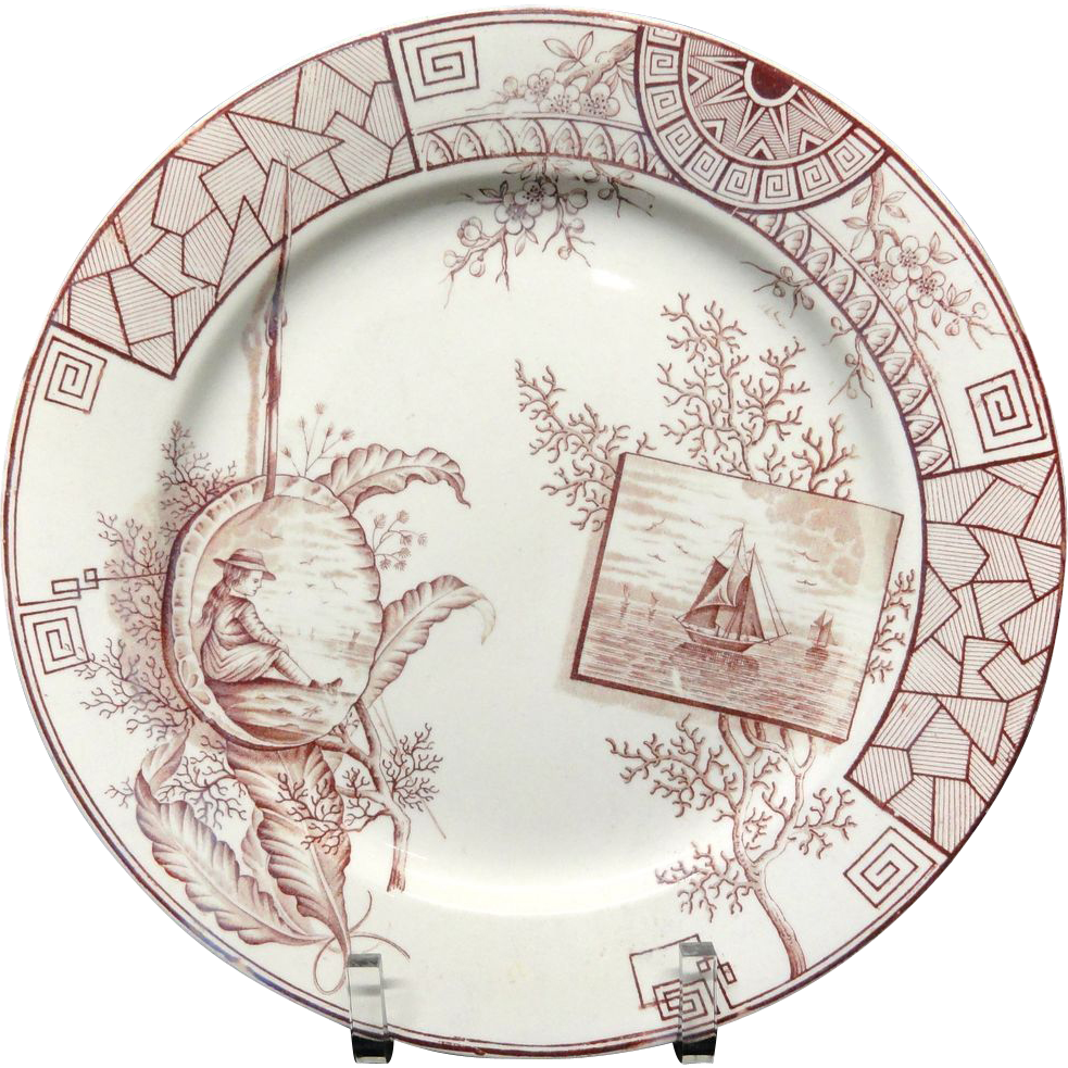 Large Aesthetic Cinnamon Brown Transferware Plate ~ Seaweed + Coral 1884