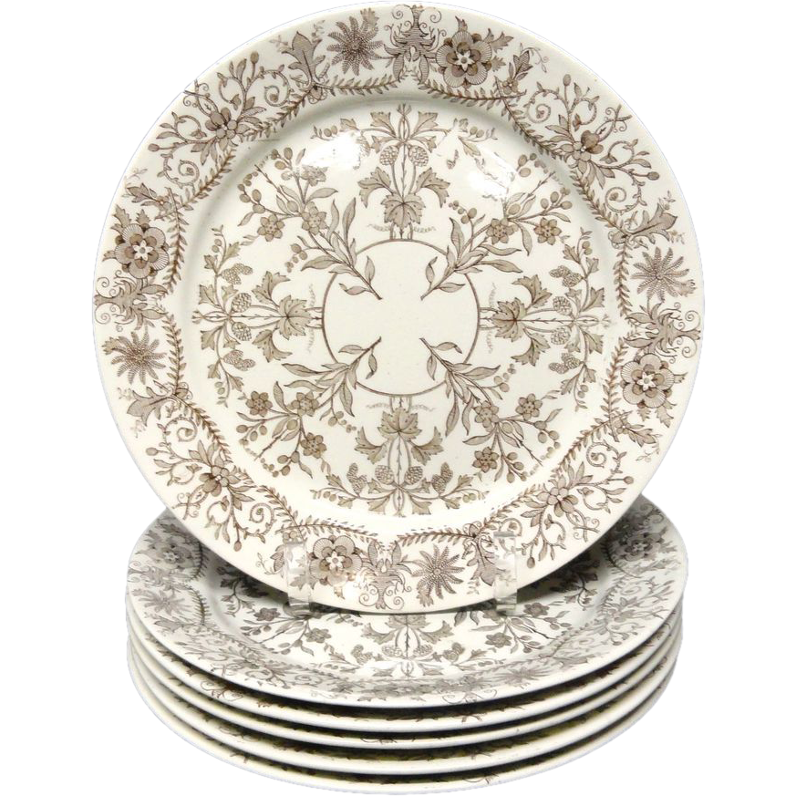 Six Aesthetic Brown Transferware Dinner Plates~ LAHORE 1885