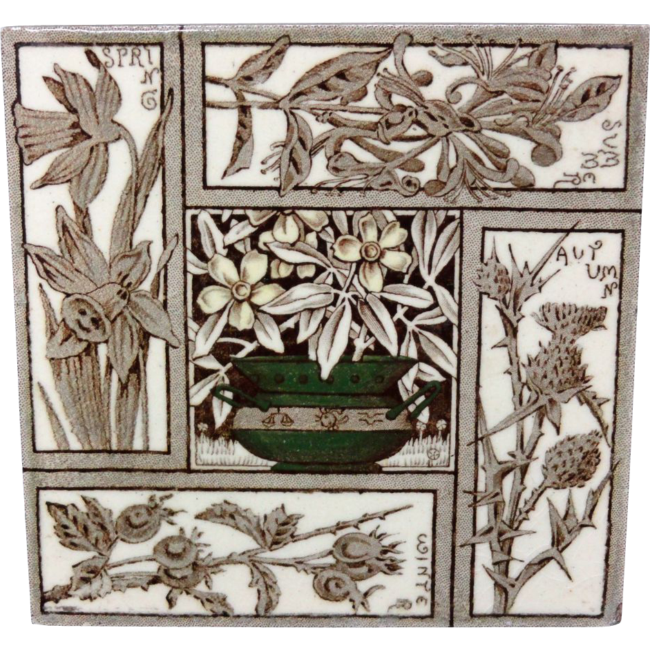 Seasons Tile ~ FLOWERS ~ Spring - Summer - Autumn - Winter 1876