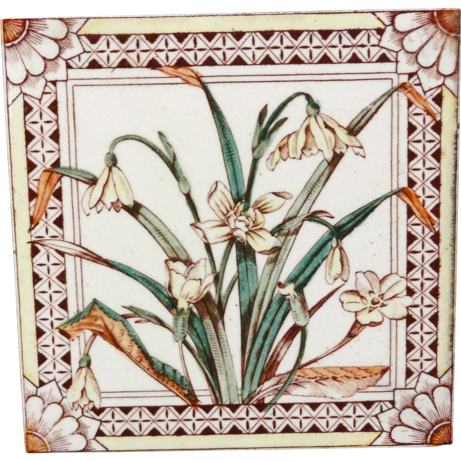 Brown Transferware Tile ~ DAFFODILS 1885