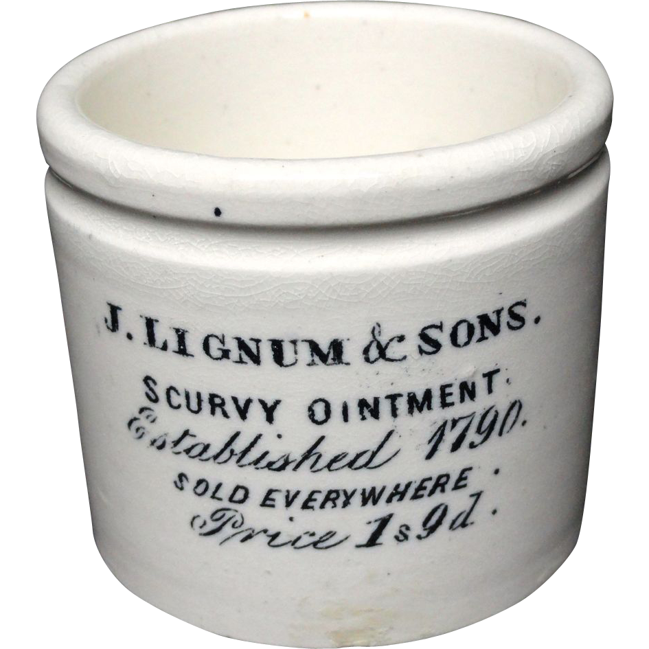 SCURVY Quack Medicine ~ Lignum and Sons Ointment Pot ~ 1892
