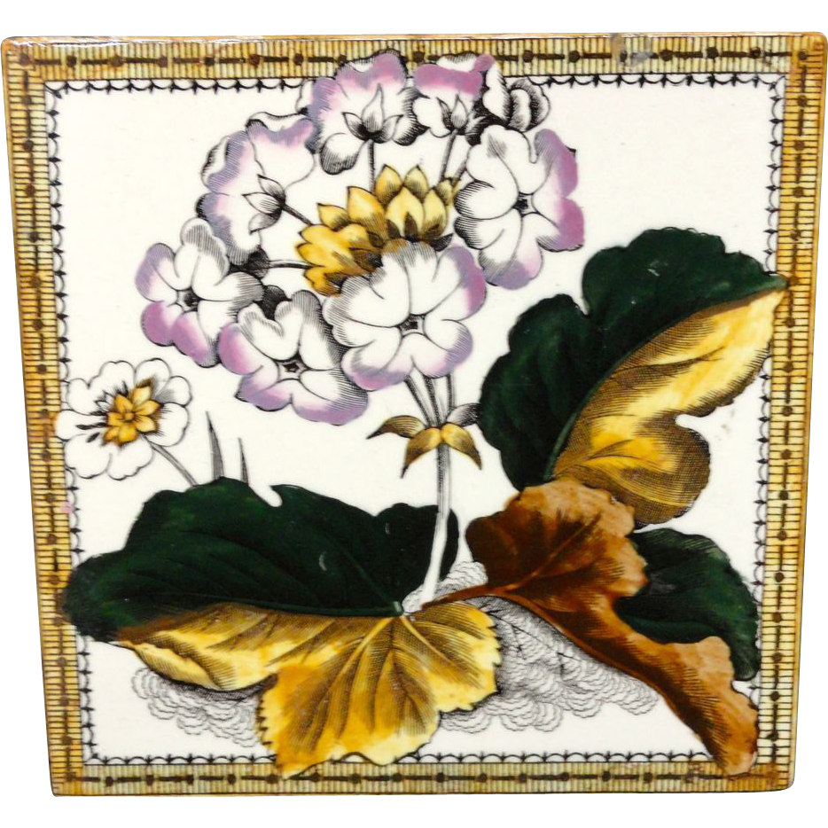 Victorian Brown Transferware Tile ~ Purple PRIMROSE 1885