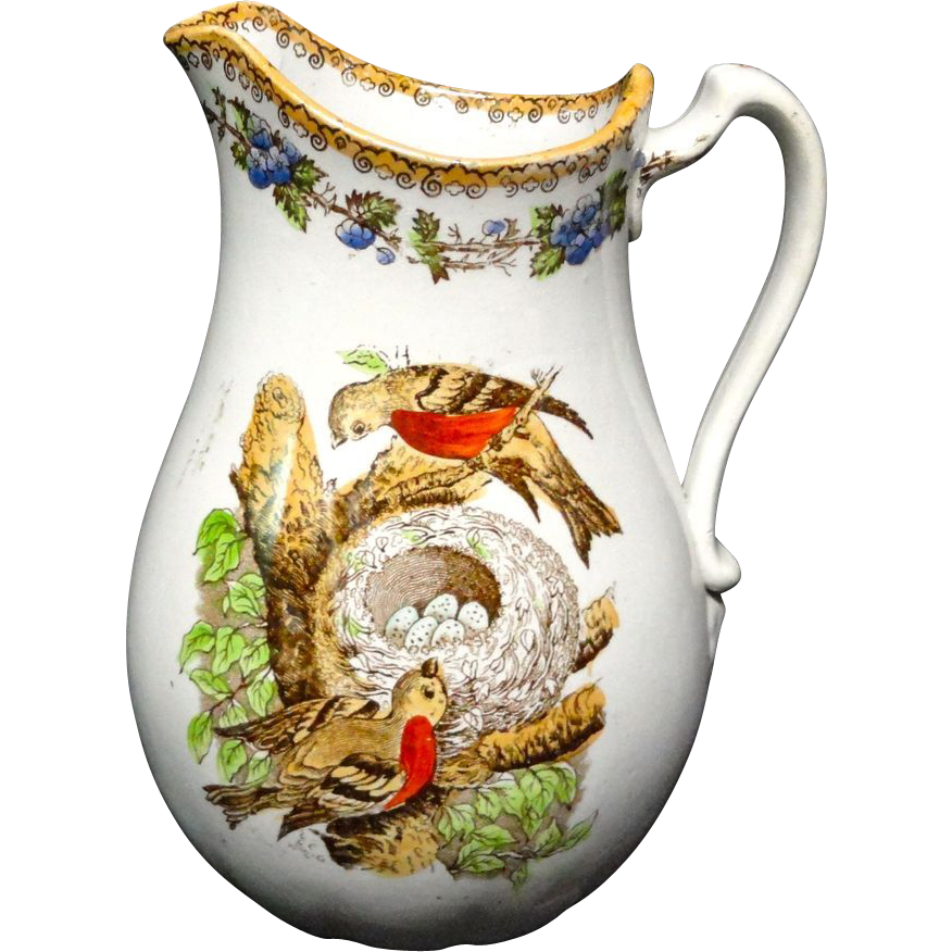 Rare Polychrome Speckled Egg Pitcher ~ 1860