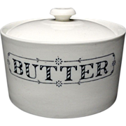 English Ironstone PURE BUTTER Dairy Shop Tub c1900