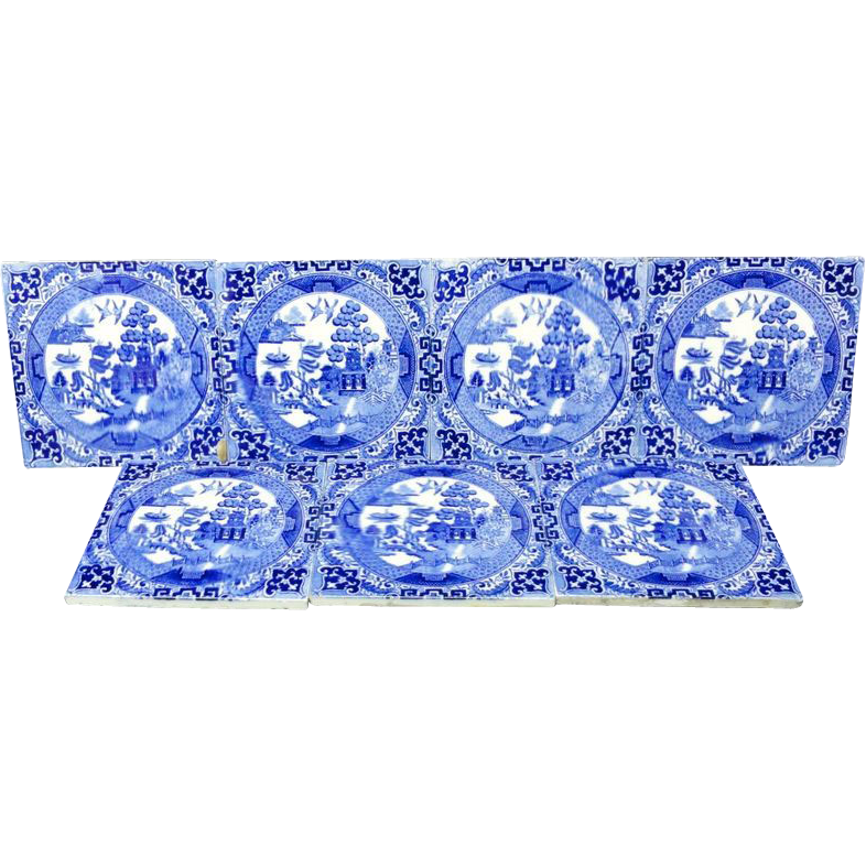 7 ~ Victorian Blue Transferware Tiles ~ Chinoiserie 1885
