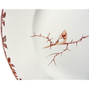 SUPERB Brown TransferwareLarge Charger Platter ~ HOLLYHOCK 1880