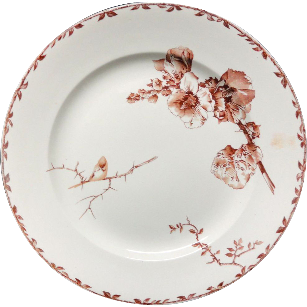 SUPERB Brown Transferware Large Charger Platter ~ HOLLYHOCK 1880
