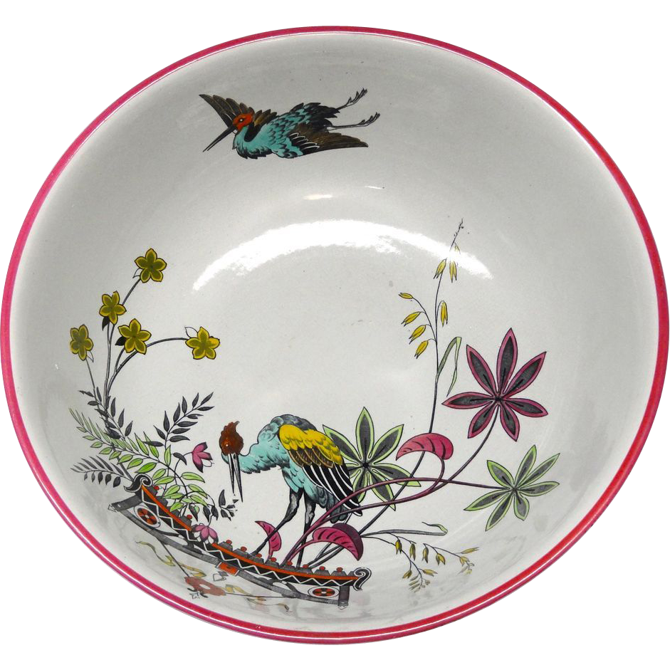 Colorful HERONS Transferware Wash Bowl ~ 1883
