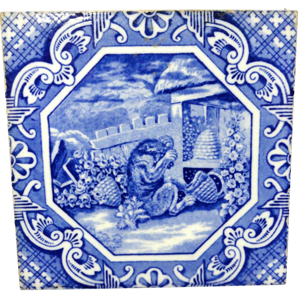Aesthetic Movement Tile ~ Aesop Fable ~ Bear and Bees ~ 1870