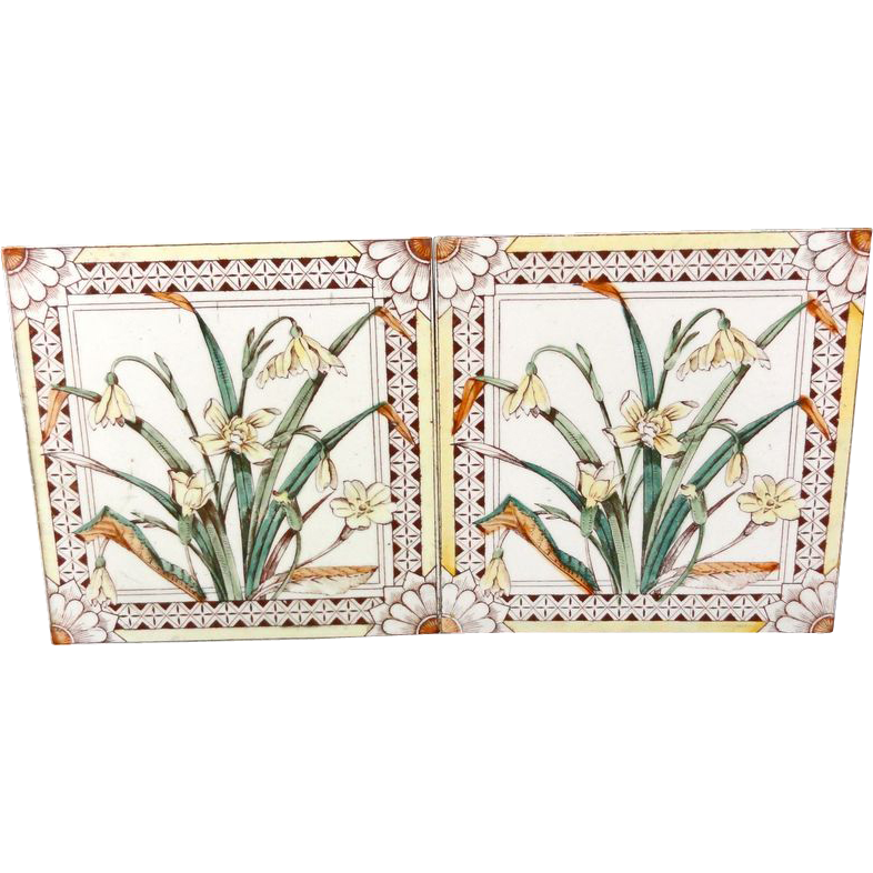 2 ~ Brown Transferware Tiles ~ DAFFODILS 1885