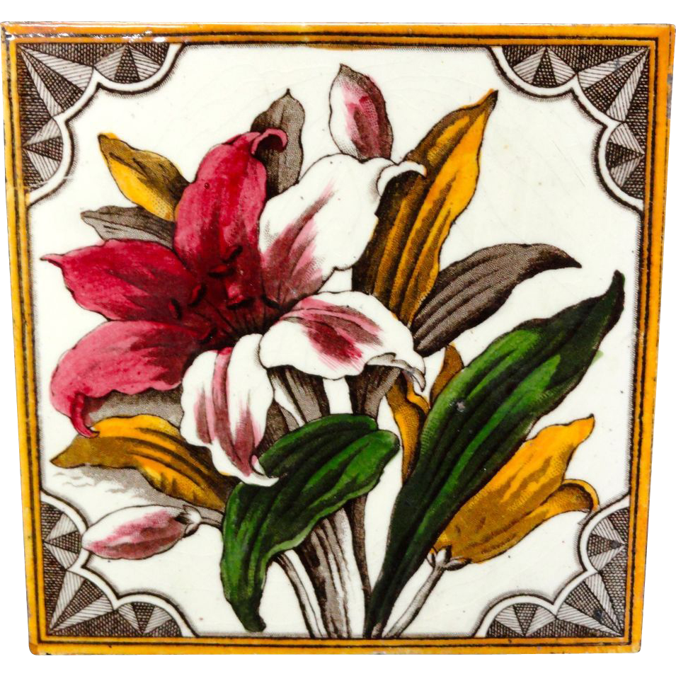 Brown Transferware Polychrome Tile ~ DAYLILY 1885