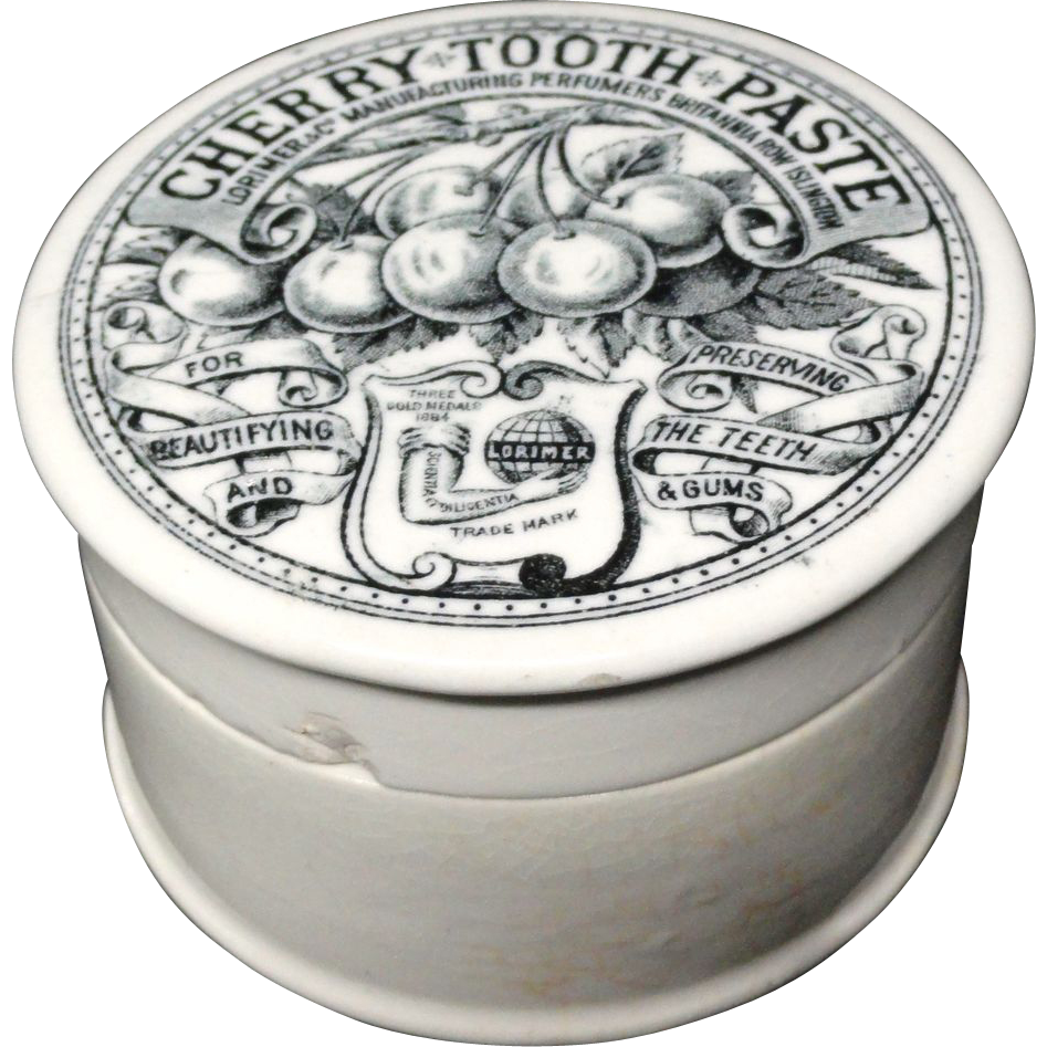 Pictorial Cherries Antique English Tooth Paste Pot 1880