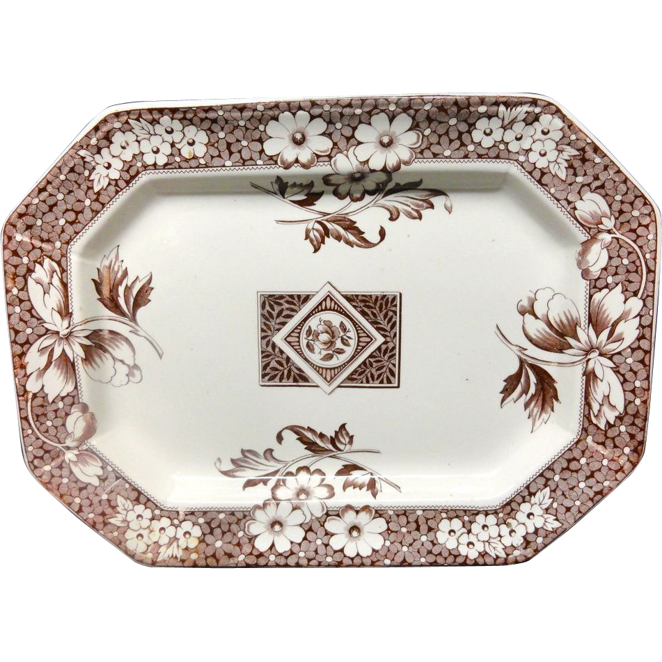 Brown Transfer Aesthetic Movement Platter ~ AVON 1884