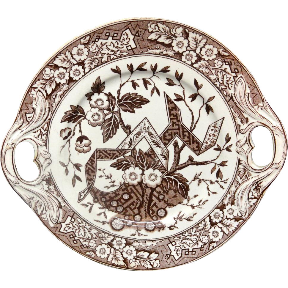 Aesthetic Brown Transferware Cake Plate 1880
