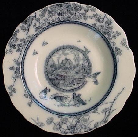Flow Blue Aesthetic Plate ~ Clover + Birds 1884