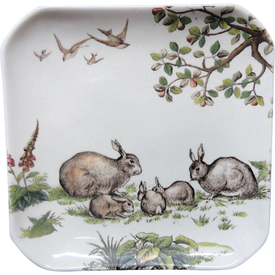 Superb English Aesthetic Movement Square Plate ~ RABBITS 1880