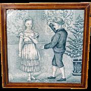 Tile ~ Wedgwood Months ~ DECEMBER ~  Mistletoe ~ 1879