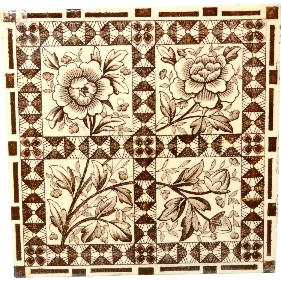 Superb Aesthetic Movement Tile ~ Sunflowers ~ 1885