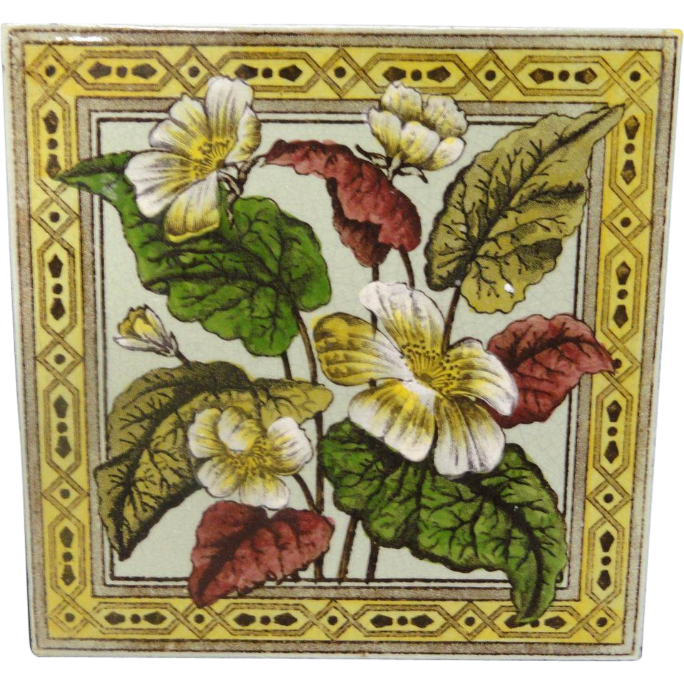 Victorian Brown Transferware Tile ~ PRIMROSE 1885