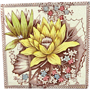 Antique English Brown Transferware TILE ~ WATER LILY 1887