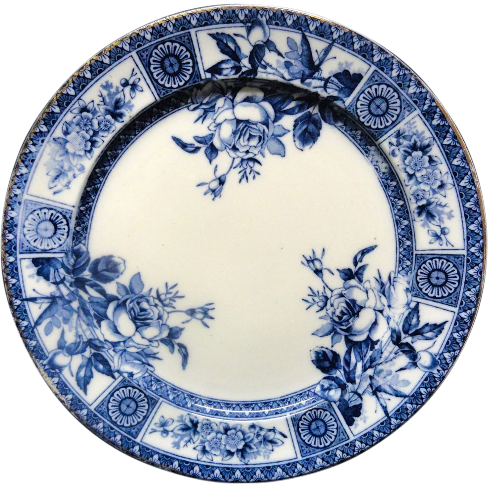 Aesthetic Movement Blue Transferware Plate ~ Garfield 1885