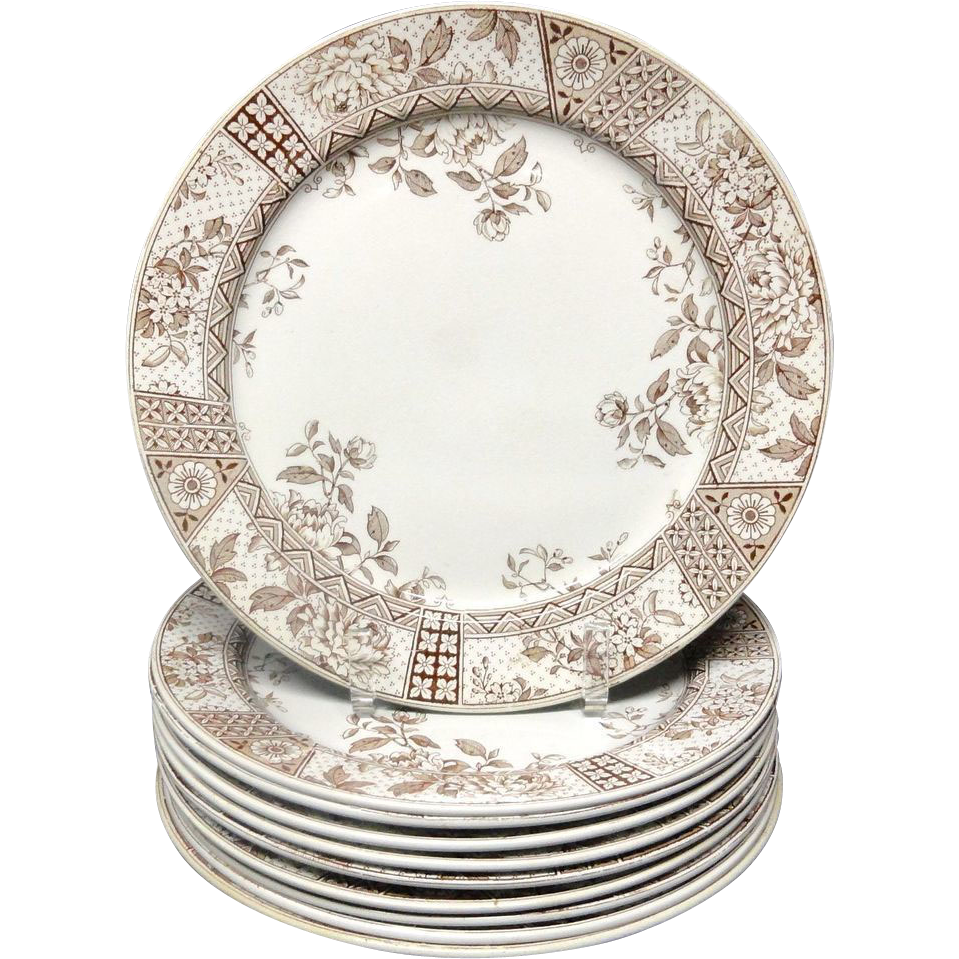 TEN Aesthetic Movement Brown Transferware Dinner Plates ~ MELBOURNE 1890
