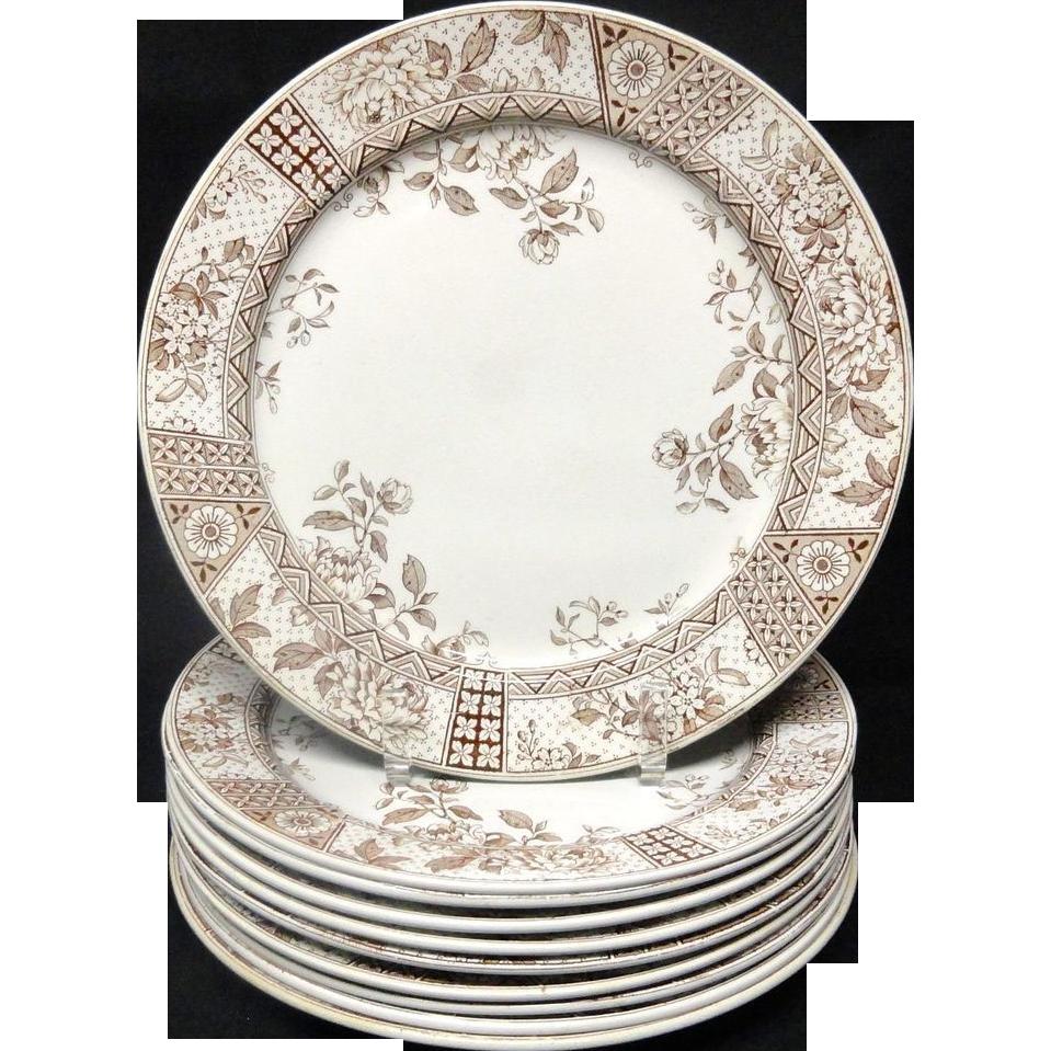TEN Aesthetic Movement Brown Transferware Dinner Plates ~ MELBOURNE 1890