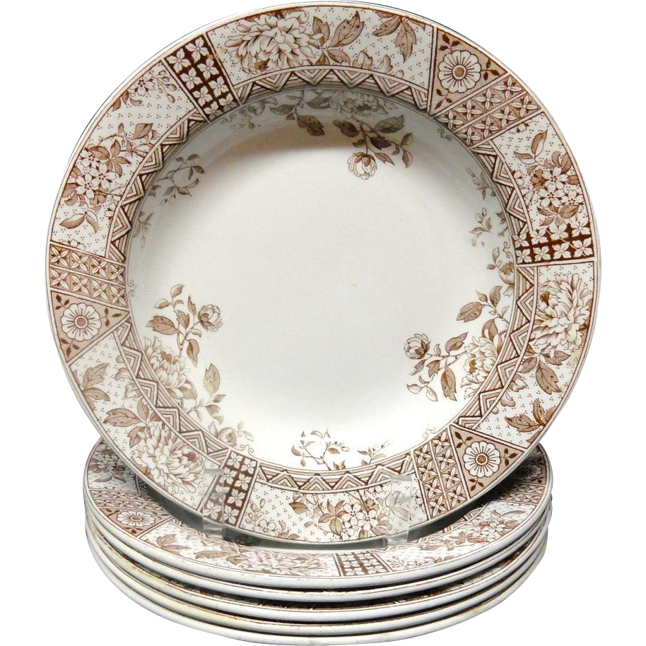 SIX Aesthetic Brown Transferware Soup Plates ~ MELBOURNE 1890