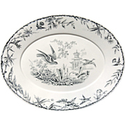 Victorian INDUS ~ Hawk and Duck Black Transferware Meat Platter ~ 1877