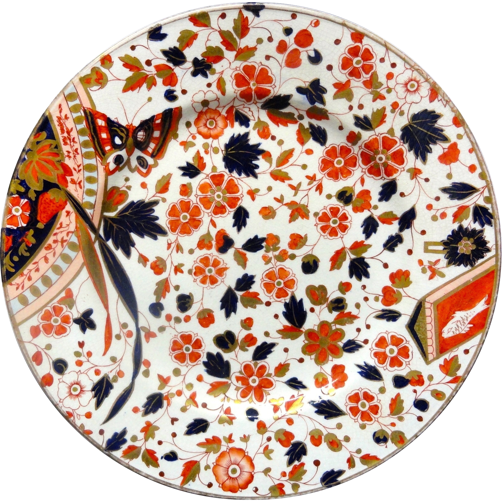 Imari Flow Blue Christopher DRESSER Cookie Plate 1885