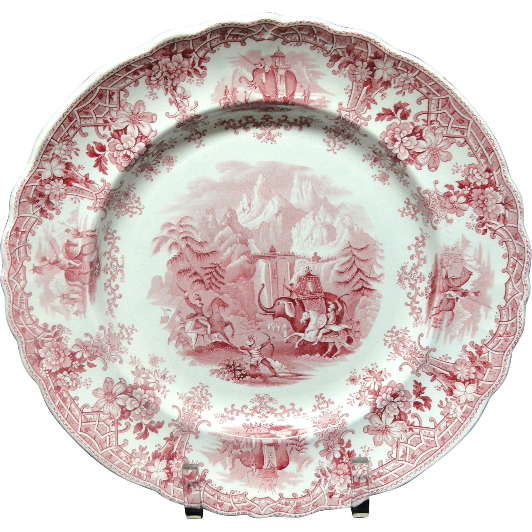 Hannibal Passing the Alps Red Transferware Plate ~ 1830