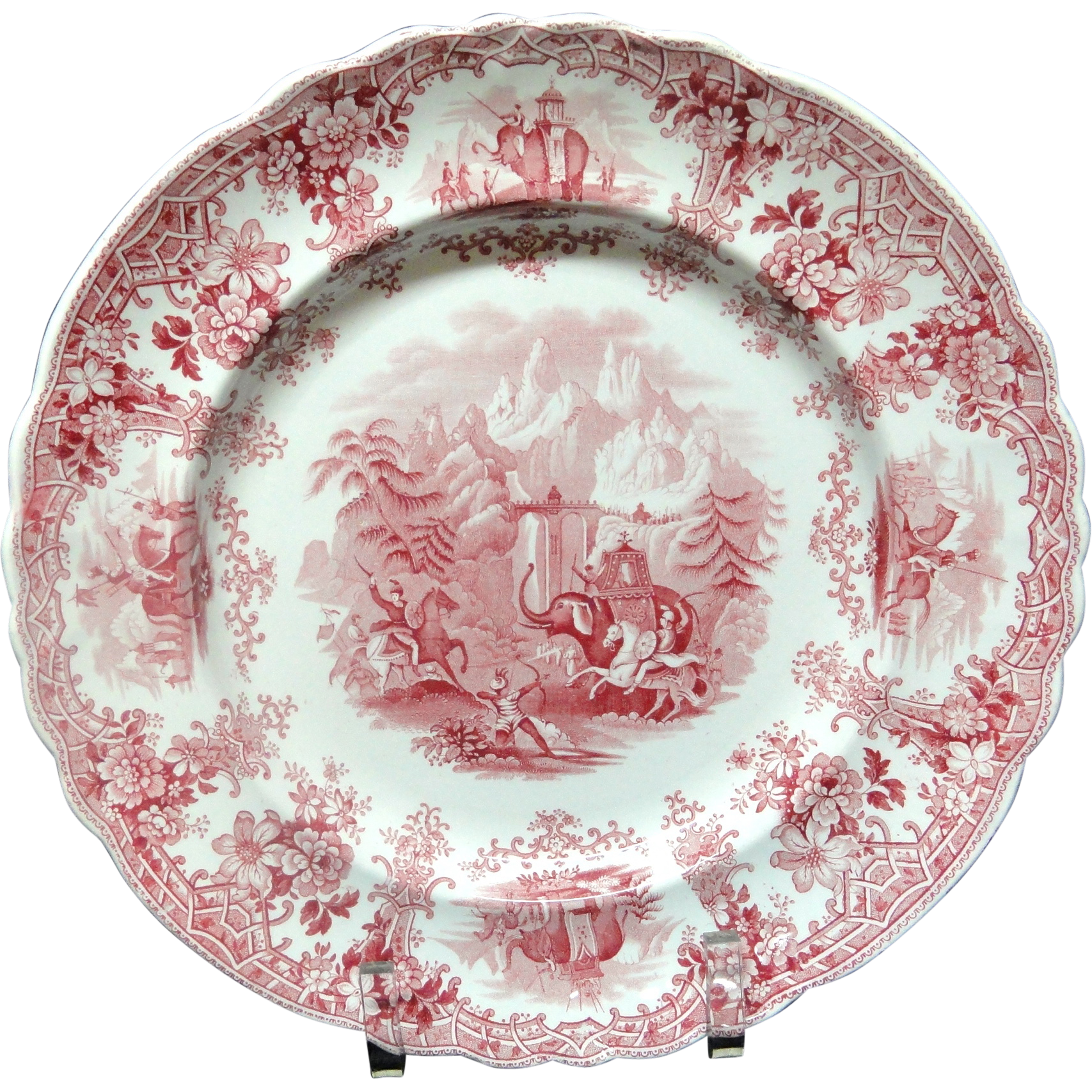 Superb Hannibal Passing the Alps Red Transferware Plate ~ 1830