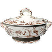Brown Transferware EGRETS Tureen ~ Indus 1885