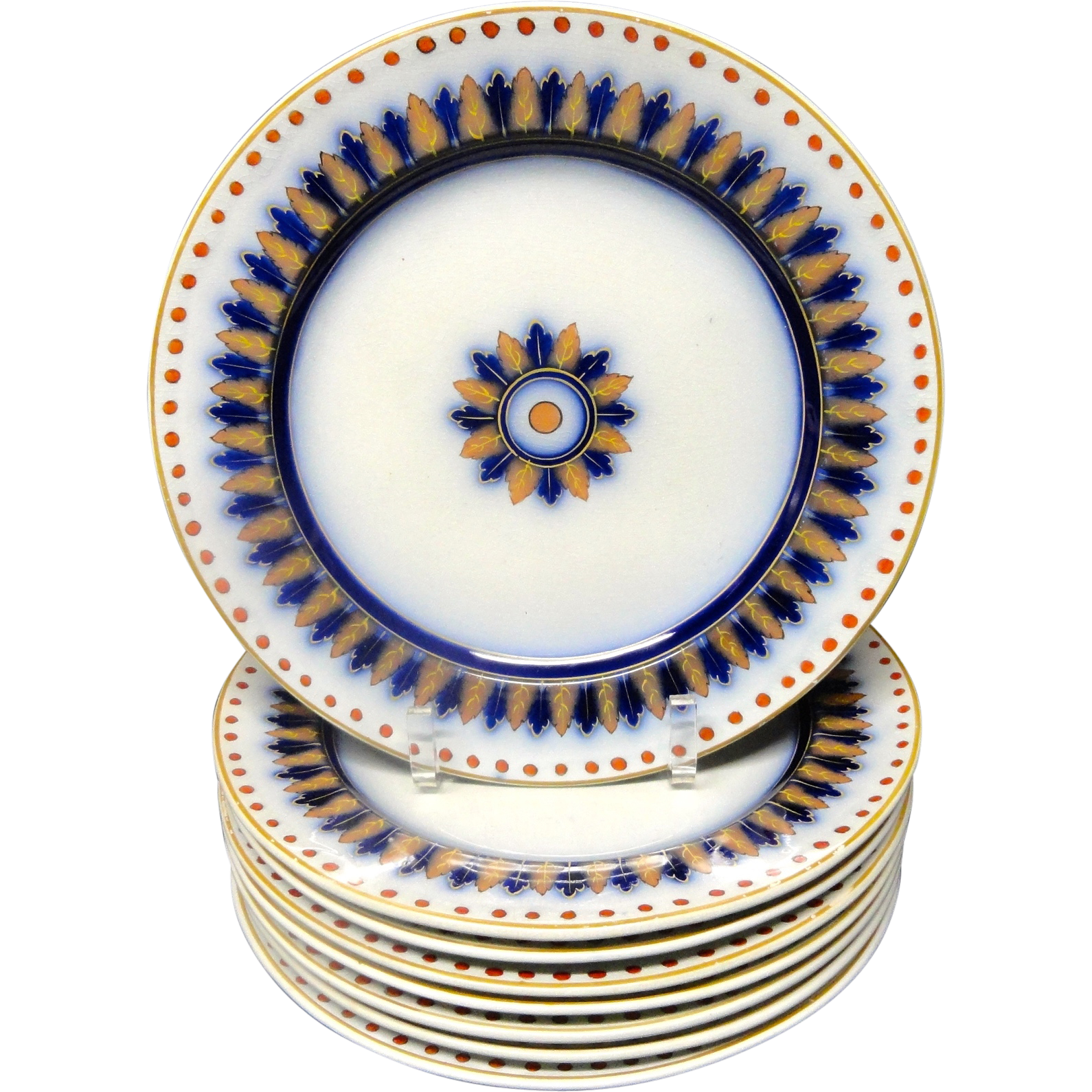 8 ~ Antique Victorian Flow Blue Plates ~ CYPRUS 1850