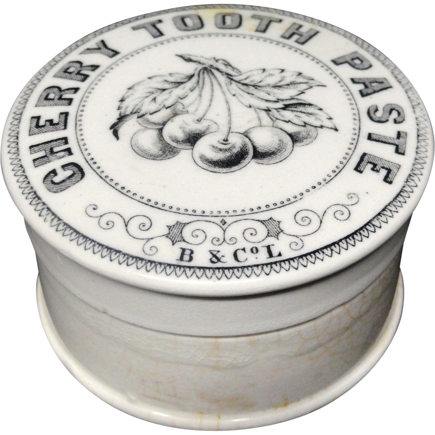 Antique English Pictorial Cherries Tooth Paste Pot ~ 1880