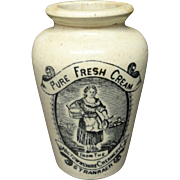 Stoneware Advertising Cream Pot ~ MILKMAID ~ 1880