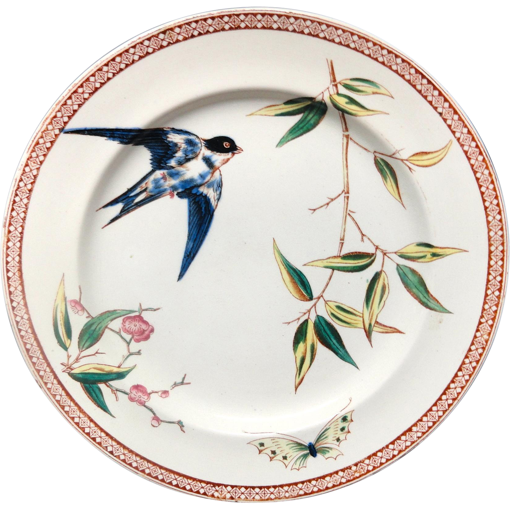 Polychrome Staffordshire Plate ~ SWALLOW 1880