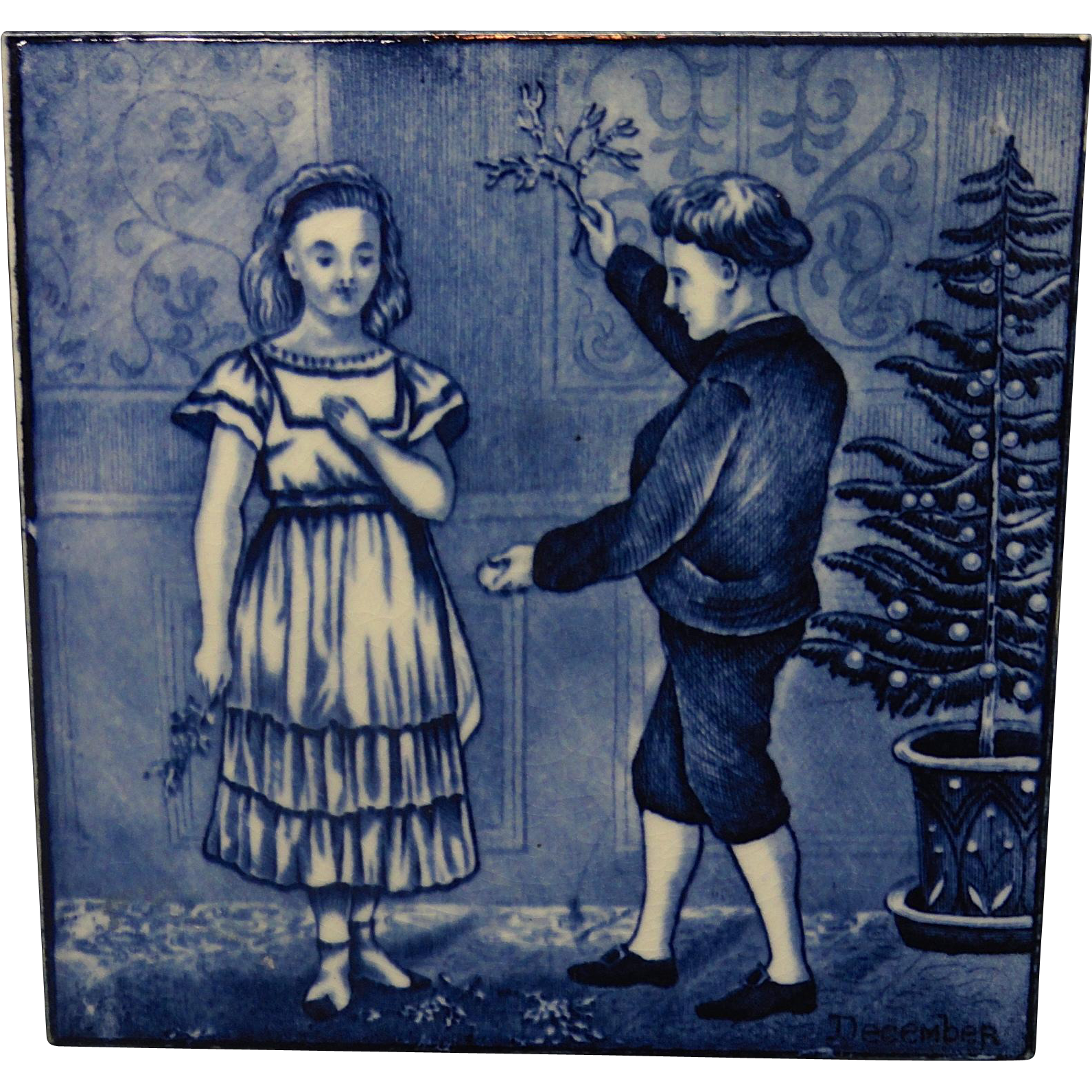 Superb Tile ~ Wedgwood Months ~ DECEMBER ~ 1879