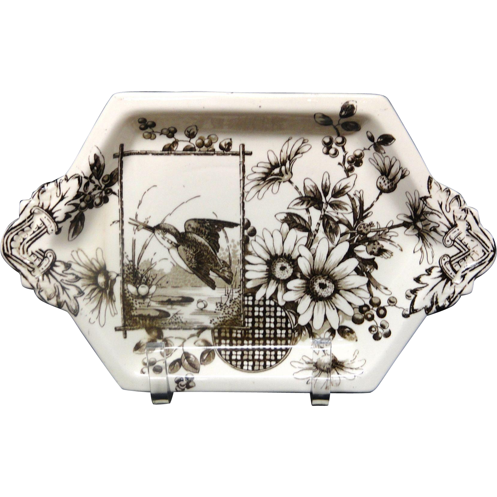 Victorian Brown Transferware Pickle Tray ~ Kingfisher 1883