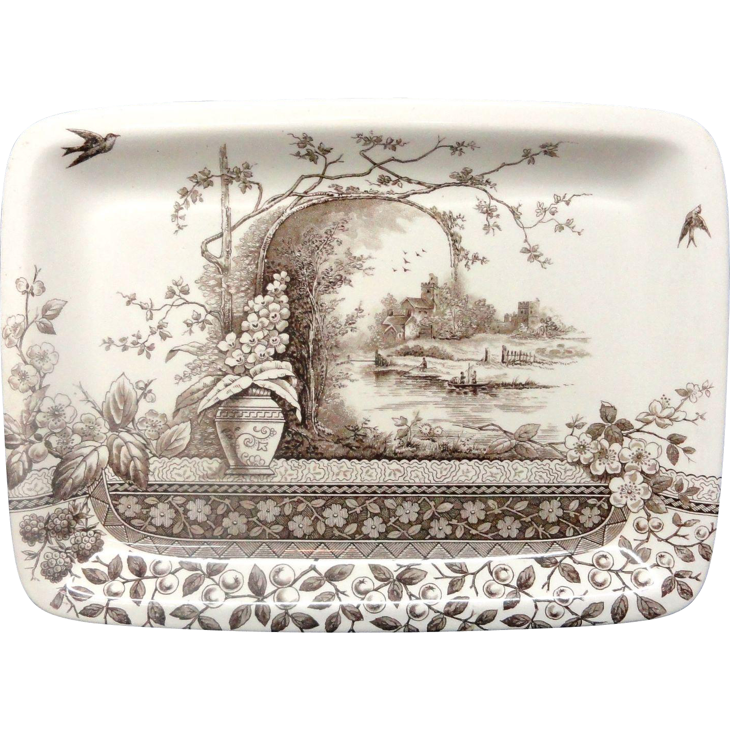 English Ironstone Transfer Printed Meat Platter ~ RUSTIC 1886