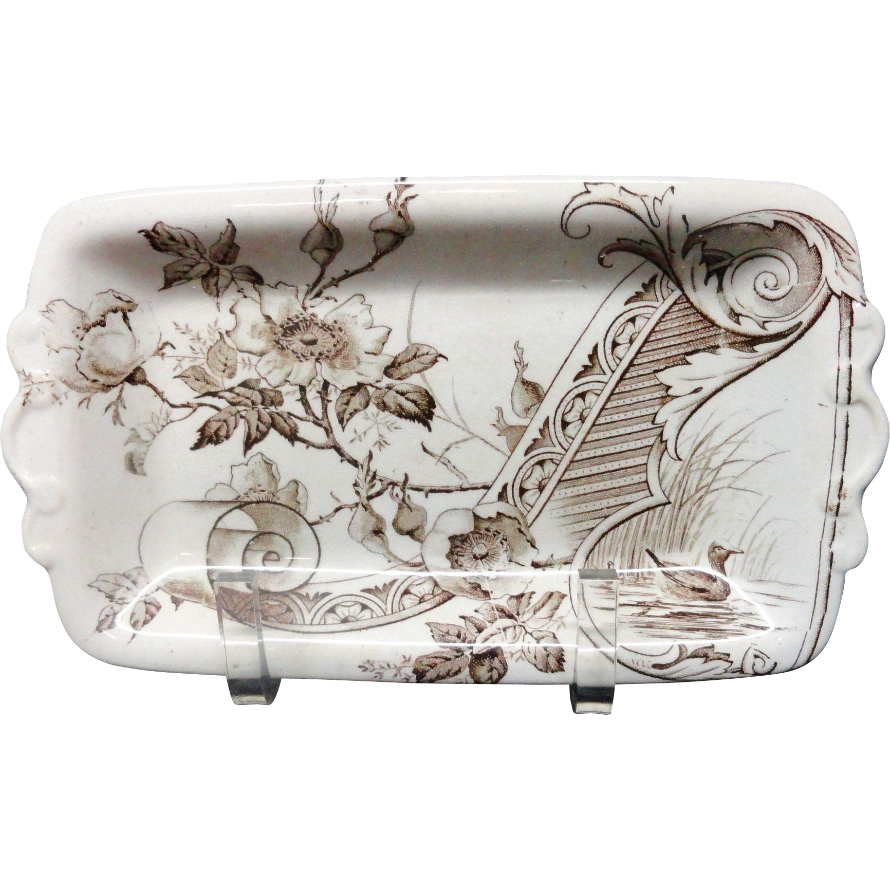 Brown Transferware English Butter Server _ DUCKS 1885