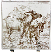 Victorian Brown Transferware Tile ~ BURROS 1885