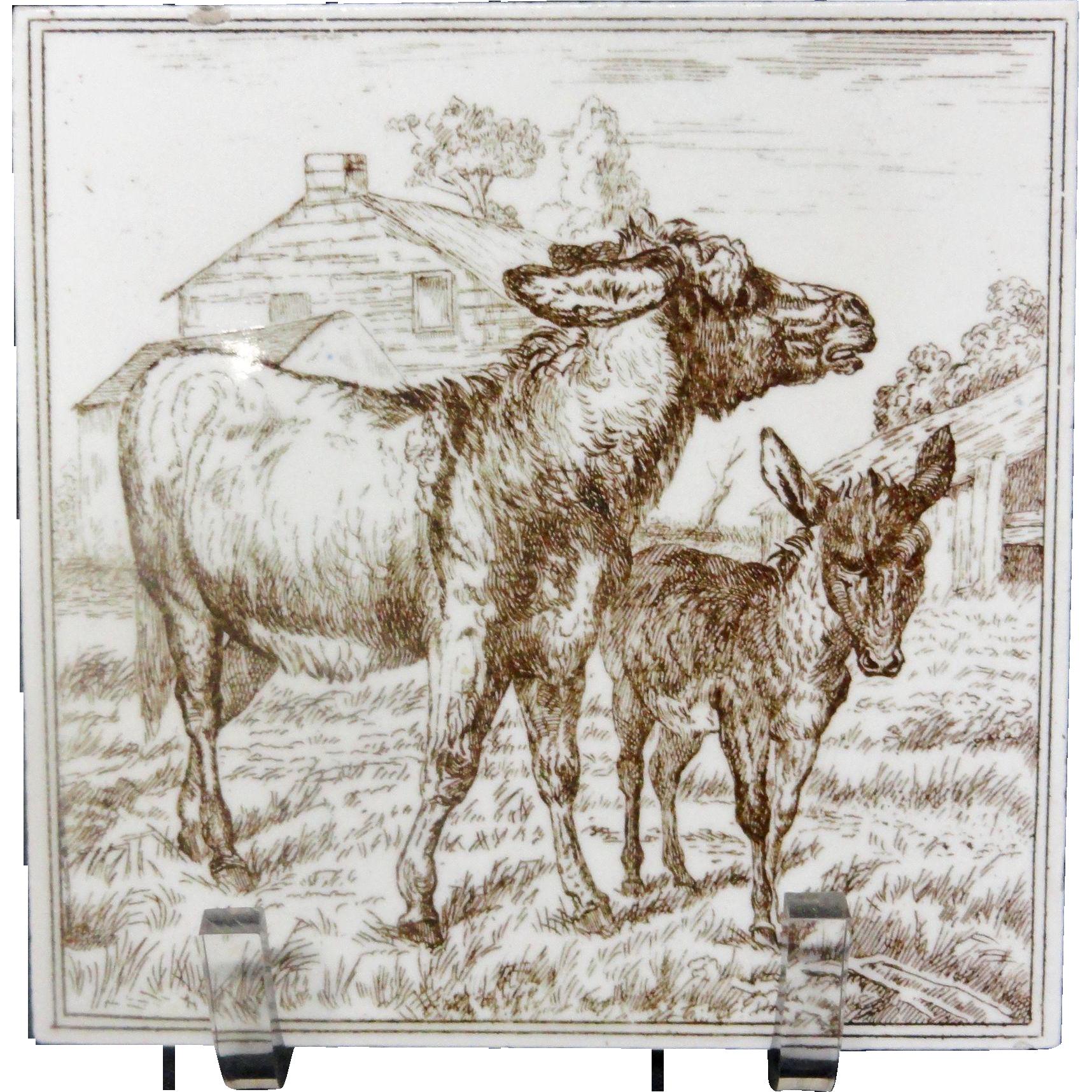 Victorian Brown Transferware Tile ~ BURROS 1885