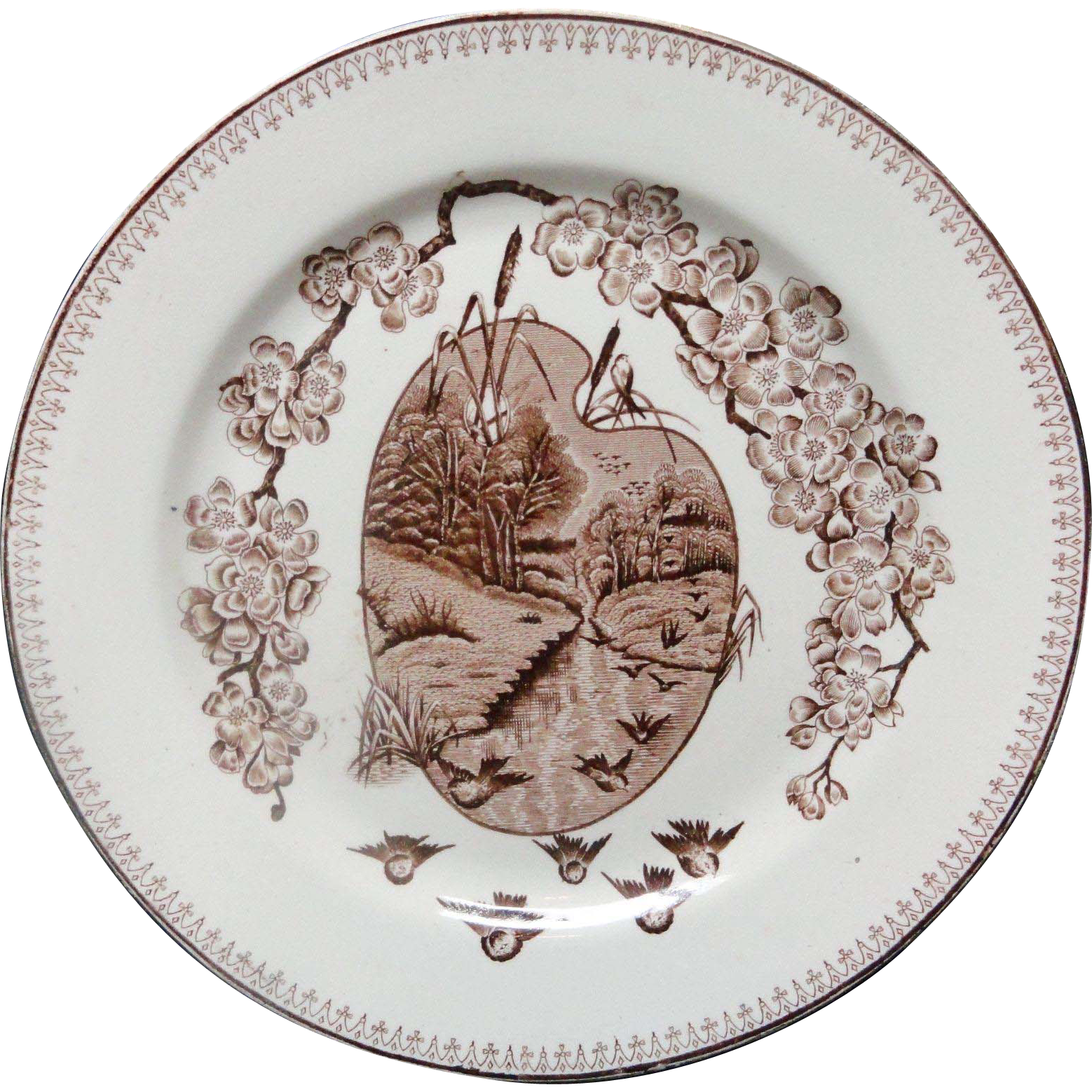 Fine Staffordshire SPRINGTIME Plate ~ 1880