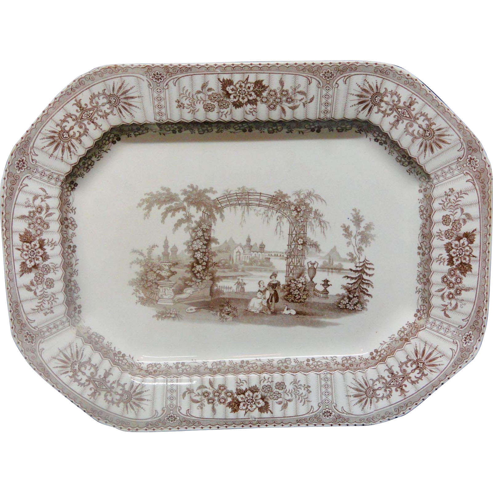 Spectacular Romantic Brown Transferware Staffordshire Platter ~ BOWER 1840